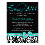 [CWR Tonya G] Black White Teal Zebra Graduation Announcement