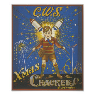 CWS Xmas Crackers Vintage Ad Poster