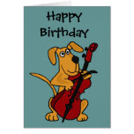 CX- Brown Puppy Dog Playing the Cello Greeting Card