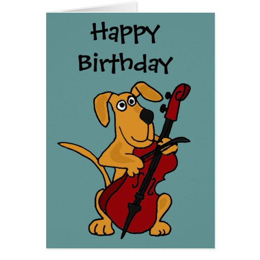 CX perro de perrito de Brown que toca el violoncel Tarjeton