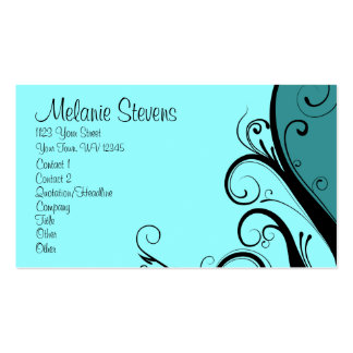 Cyan Abstract Floral Business Card Template