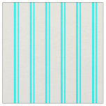 [ Thumbnail: Cyan and Beige Colored Lines/Stripes Pattern Fabric ]