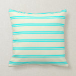 [ Thumbnail: Cyan and Beige Colored Lines/Stripes Pattern Throw Pillow ]