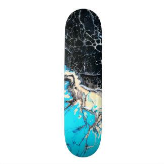 Cyan and black fluid acrylic paint Art work Skateboard