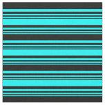 [ Thumbnail: Cyan and Black Lined/Striped Pattern Fabric ]
