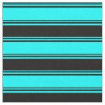 [ Thumbnail: Cyan and Black Stripes/Lines Pattern Fabric ]