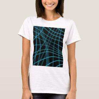Cyan and black warped lines T-Shirt