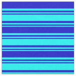 [ Thumbnail: Cyan and Blue Lines/Stripes Pattern Fabric ]
