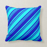 [ Thumbnail: Cyan and Blue Lines/Stripes Pattern Throw Pillow ]