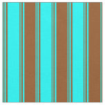 [ Thumbnail: Cyan and Brown Colored Stripes Pattern Fabric ]