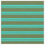 [ Thumbnail: Cyan and Dark Olive Green Colored Lines Fabric ]