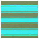 [ Thumbnail: Cyan and Dark Olive Green Colored Stripes Fabric ]