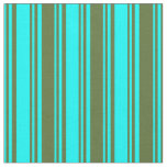 [ Thumbnail: Cyan and Dark Olive Green Colored Stripes Pattern Fabric ]
