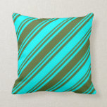 [ Thumbnail: Cyan and Dark Olive Green Colored Stripes Pattern Throw Pillow ]