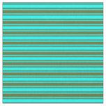 [ Thumbnail: Cyan and Dark Olive Green Stripes Pattern Fabric ]