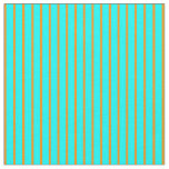 [ Thumbnail: Cyan and Dark Orange Colored Lined Pattern Fabric ]