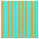 [ Thumbnail: Cyan and Dark Orange Pattern of Stripes Fabric ]