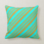 [ Thumbnail: Cyan and Dark Orange Pattern of Stripes Pillow ]