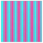[ Thumbnail: Cyan and Deep Pink Lines Pattern Fabric ]