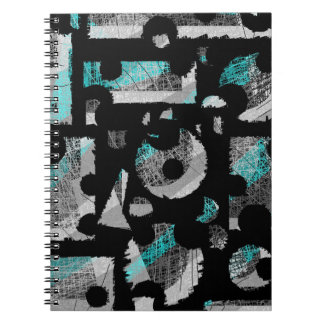 Cyan and gray abstraction notebook
