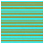 [ Thumbnail: Cyan and Green Colored Lines Fabric ]