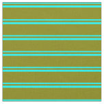 [ Thumbnail: Cyan and Green Lined/Striped Pattern Fabric ]