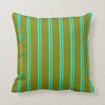 [ Thumbnail: Cyan and Green Lined/Striped Pattern Throw Pillow ]
