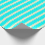 [ Thumbnail: Cyan and Light Yellow Lines Wrapping Paper ]