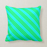 [ Thumbnail: Cyan and Lime Colored Lines/Stripes Pattern Pillow ]