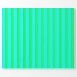 [ Thumbnail: Cyan and Lime Colored Lines/Stripes Pattern Wrapping Paper ]