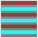 [ Thumbnail: Cyan and Maroon Colored Lined/Striped Pattern Fabric ]