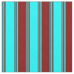 [ Thumbnail: Cyan and Maroon Colored Lines Fabric ]