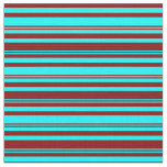 [ Thumbnail: Cyan and Maroon Colored Lines/Stripes Pattern Fabric ]