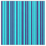 [ Thumbnail: Cyan and Midnight Blue Colored Lines Fabric ]