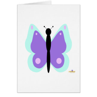 Cyan And Purple Butterfly Card