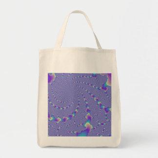 Cyan And Purple Spiraling Lights Fractal Art Canvas Bags