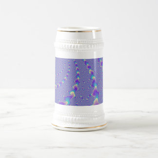 Cyan And Purple Spiraling Lights Fractal Art Beer Stein