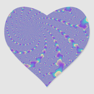 Cyan And Purple Spiraling Lights Fractal Art Heart Sticker
