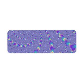 Cyan And Purple Spiraling Lights Fractal Art Label