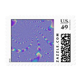 Cyan And Purple Spiraling Lights Fractal Art Stamps