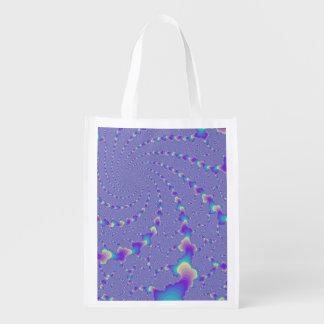 Cyan And Purple Spiraling Lights Fractal Art Reusable Grocery Bag