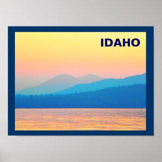 Cyan and Salmon Sunset Poster