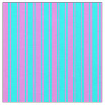 [ Thumbnail: Cyan and Violet Colored Striped Pattern Fabric ]