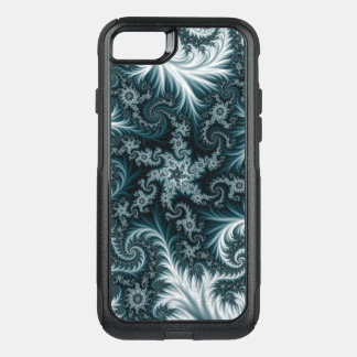 Cyan and white fractal pattern. OtterBox commuter iPhone 7 case