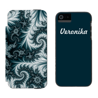Cyan and white fractal pattern. wallet case for iPhone SE/5/5s