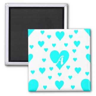 Cyan and White Hearts Monogram Magnet
