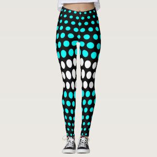 Cyan and White Polka Dot Pattern Leggings