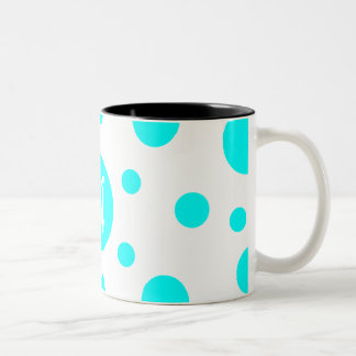 Cyan and White Polka Dots Monogram Two-Tone Coffee Mug