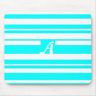 Cyan and White Random Stripes Monogram Mouse Pad