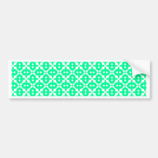 Cyan And White Unique Tile Pattern Bumper Sticker
